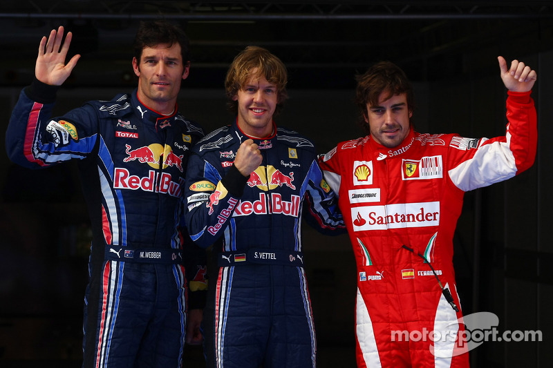 Polepositie Sebastian Vettel, Red Bull Racing, 2de Mark Webber, Red Bull Racing, en 3de Fernando Alonso, Scuderia Ferrari