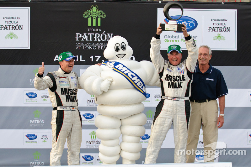 michelin green x challenge podium prototype winners klaus graf and greg pickett at long beach. Black Bedroom Furniture Sets. Home Design Ideas