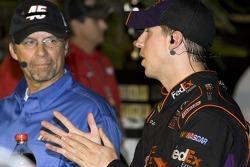 Victory lane: race winner Denny Hamlin, Joe Gibbs Racing Toyota