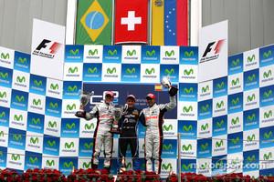 Podium: winner Fabio Leimer, second place Luiz Razia, third place Pastor Maldonado