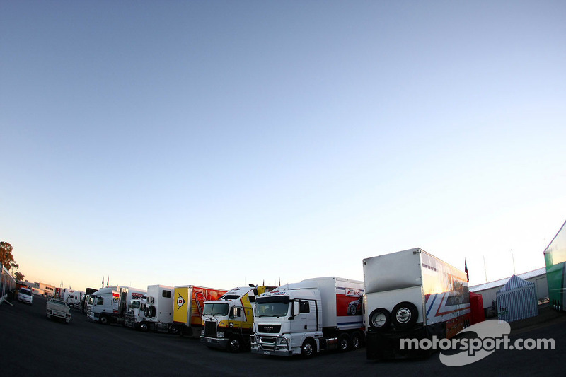 Supercar Transporters Lined Up In The Paddock At Winton