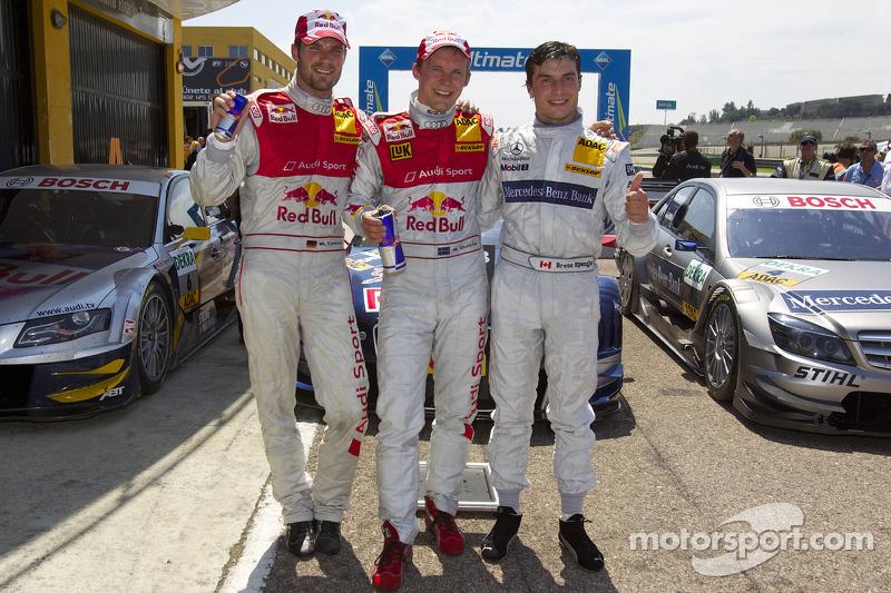 Race winnaar Mattias Ekström, Audi Sport Team Abt, 2de Martin Tomczyk, Audi Sport Team Abt, 3de Brun