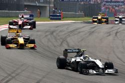 Nico Rosberg, Mercedes GP leads Robert Kubica, Renault F1 Team