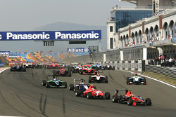 Rio Haryanto leads Miki Monras, Nico Muller and the field at the start of the race
