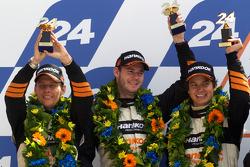 LMGT2 podium: second place Dominik Farnbacher, Allan Simonsen and Leh Keen