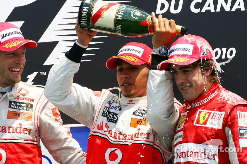 2010 - 1. Lewis Hamilton, 2. Jenson Button, 3. Fernando Alonso