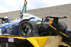 Max Chilton, Chip Ganassi Racing Chevrolet crashed car