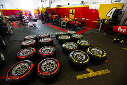 Pirelli tyres in front of Racing Engineering garage