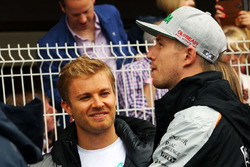 Nico Rosberg, Mercedes AMG F1 with Nico Hulkenberg, Sahara Force India F1 on the drivers parade