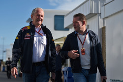 (L to R): Dr Helmut Marko, Red Bull Motorsport Consultant with Jos Verstappen