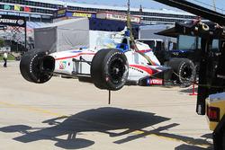 crashed car of Gabby Chaves, Dale Coyne Racing Honda