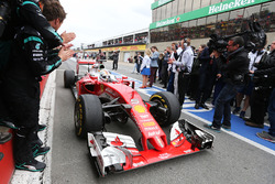 Second placed Sebastian Vettel, Ferrari SF16-H enters parc ferme