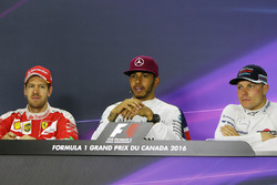 (L to R): Sebastian Vettel, Ferrari; Lewis Hamilton, Mercedes AMG F1; and Valtteri Bottas, Williams in the FIA Press Conference