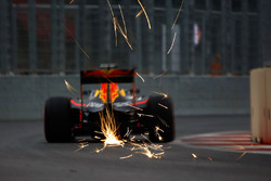 Daniel Ricciardo, Red Bull Racing RB12 sends sparks flying