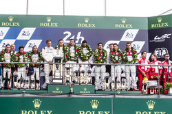 LMP1 podium: class and overal winners #2 Porsche Team Porsche 919 Hybrid: Romain Dumas, Neel Jani, Marc Lieb, second place #6 Toyota Racing Toyota TS050 Hybrid: Stéphane Sarrazin, Mike Conway, Kamui Kobayashi, third place #8 Audi Sport Team Joest Audi R18: