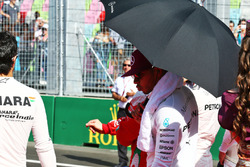 Lewis Hamilton, Mercedes AMG F1 as the grid observes the national anthem