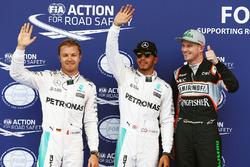 Pole Position für Lewis Hamilton, Mercedes AMG F1 Team; 2. Nico Rosberg, Mercedes AMG F1 Team; 3. Nico Hülkenberg, Sahara Force India