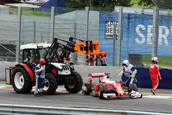Ausfall von Sebastian Vettel, Ferrari SF16-H nach einem Reifendefekt