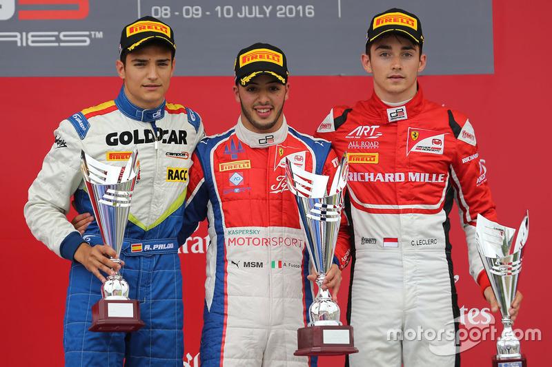 Podium : le vainqueur Antonio Fuoco, Trident, le deuxième Alex Palou, Campos Racing, le troisième Charles Leclerc, ART Grand Prix
