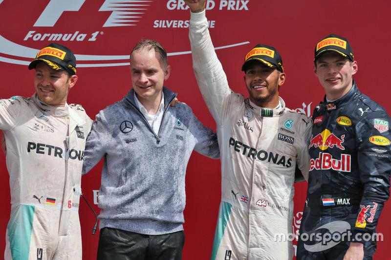 1. Lewis Hamilton, 2. Max Verstappen, 3. Nico Rosberg (Zeitstrafe)