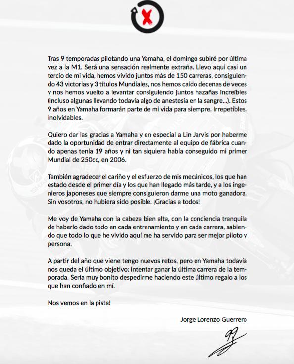 Carta Jorge Lorenzo
