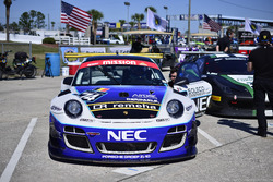 Rob Blake (Porsche GT3R) and Steve Hill (F458) Grid at Sebring IGT Race