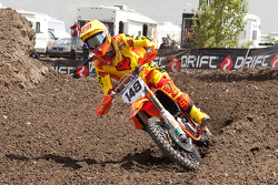 KTM's Cole Thompson #148 takes the early lead in the second moto on his way to a 2nd place overall