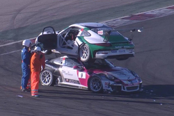 Jules Gounon and Joffrey De Narda crash at Navarra during the Porsche Carrera Cup France race