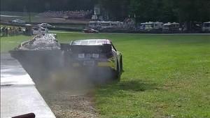 NASCAR Travis Pastrana spins into the wall   Mid-Ohio (2013)