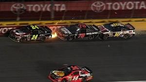 Gordon takes Truex Jr. & Biffle into the wall - 2014 All-Star Race