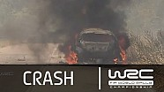 Hirvonen´s burning WRC car/ SS03 Rally Italia Sardegna 2014