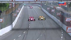 Ryan Hunter-Reay slams the wall after contact with Tony Kanaan