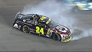 Jeff Gordon spins after contact with Brad Keselowski