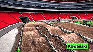 Mapa dinamico de la pista Atlanta. 8a ronda del campionato de Supercross AMA