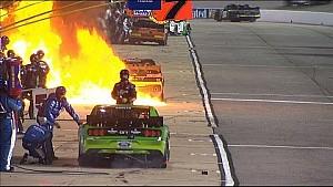 Huge Fire Engulfs Brendan Gaughan's Pit Crew - Richmond 2015 - NASCAR Sprint Cup