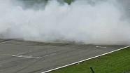 Max Verstappen does burnouts in Assen