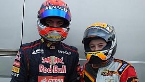 Max et Victoria Verstappen testent un kart Rotax à Genk, 14/12/2014