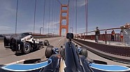 On-board: Indycars over de Golden Gate Bridge