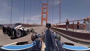 On-board: Indycars over de Golden Gate Bridge