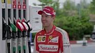 Sebastian Vettel sorprende a los clientes de una gasolinera