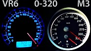BMW M3 vs VW Bora VR6 0-320 Acceleration Onboard Autobahn G-Power vs Turbo Gockel Kompressor E90 E92