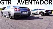 LAMBORGHINI AVENTADOR vs NISSAN GTR Drag Race V12 Sound 550Plus Club
