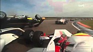 Onboard view of Enzo Bortoleto's crash at Rockingham