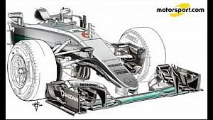 Giorgio Piola - evolución del extremo delantero Mercedes W07