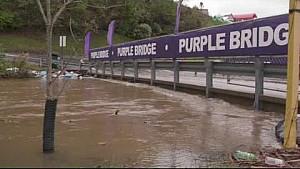 Chris Buescher helps flooded campers at Bristol